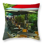 Dining Under The Umbrellas Throw Pillow
