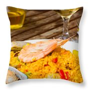 Dining With Paella Throw Pillow