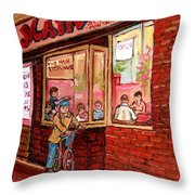 Dinner At The Main Steakhouse Throw Pillow
