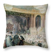 Dinner At The Tuileries Throw Pillow by Henri Baron
