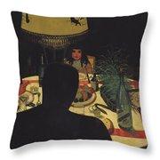 Dinner By Lamplight Throw Pillow by Felix Edouard Vallotton