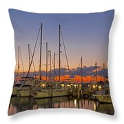 Dinner Key Marina 2539 Throw Pillow