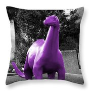 Dino Selective Coloring In Ultra Violet Purple Photography By Colleen Throw Pillow