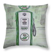 Dino Sinclair Gas Pump Throw Pillow