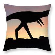 Dinosaur Loose On Route 66 Throw Pillow