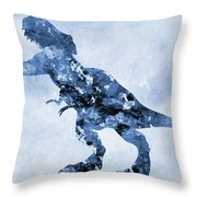 Dinosaur Rex-blue Throw Pillow