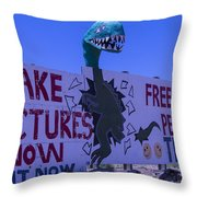 Dinosaur Sign Take Pictures Now Throw Pillow