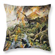 Dinosaurs And Volcanoes Throw Pillow
