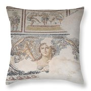Dionysus Mosaic Mona Lisa Of The Galilee Throw Pillow by Ilan Rosen