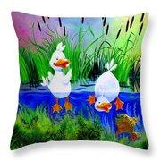Dipping Duckies - Furry Forest Friends Mural Throw Pillow