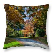 Dirt Road Through Vermont Fall Foliage Throw Pillow