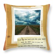 Dirt Road With Scripture Verse Throw Pillow