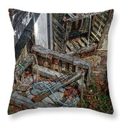 Discarded Lobster Traps Throw Pillow