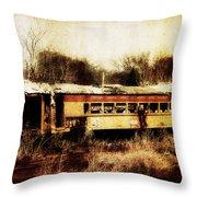 Discarded Train Throw Pillow