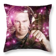 Disconnected Male Dj Holding Unplugged Audio Jack Throw Pillow