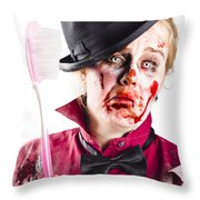 Diseased Woman With Big Toothbrush Throw Pillow