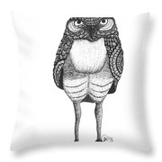 Disgruntled Owl Throw Pillow