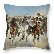 Dismounted The Fourth Troopers Moving The Led Horses Throw Pillow