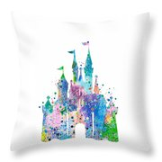 Disney Castle 2 Watercolor Print Throw Pillow
