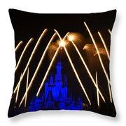 Disney Castle Fireworks Throw Pillow