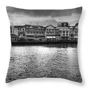 Disney World Boardwalk Gazebo Panorama Bw Throw Pillow