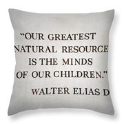 Disney World Our Greatest Natural Resource Signage Throw Pillow