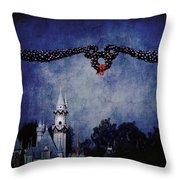 Disneyland Castle At Christmas Time Throw Pillow