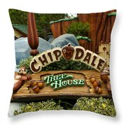 Disneyland Chip And Dale Signage Throw Pillow