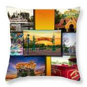 Disneyland Collage 02 Yellow Throw Pillow