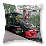 Disneyland Railroad Engine 3 With Castle Throw Pillow