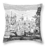 Disneyland Small World Panorama Pa Bw Throw Pillow