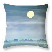 Distant Blue Haze Throw Pillow