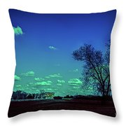 Distant Mansion Throw Pillow