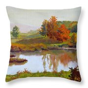 Distant Maples Throw Pillow