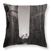 Distant Mountain And Long Bridge Throw Pillow
