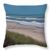 Distant Pier Throw Pillow
