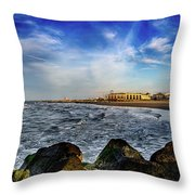 Distant Pier Throw Pillow