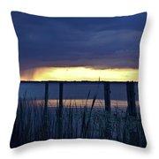 Distant Storms At Sunset Throw Pillow