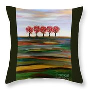 Distant Trees Throw Pillow by Carolyn Weir