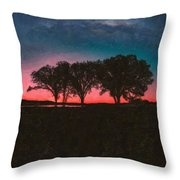 Distant Trees Under Milkyway Horizon By Adam Asar 3 Throw Pillow