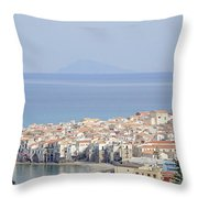 Distant View Of Cefalu Sicily Throw Pillow