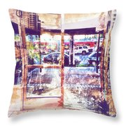 Distressed City Throw Pillow