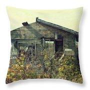 Distressed Honey House Door County Wisconsin Throw Pillow