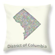 District Of Columbia Line Art Map Throw Pillow