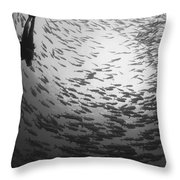 Diver And A Large School Of Bigeye Throw Pillow