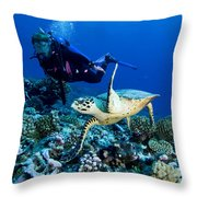 Diver And Green Sea Turtle Chelonia Throw Pillow