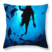 Diver And Reef Fish Throw Pillow