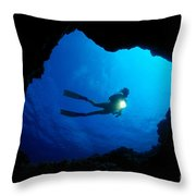 Diver At Cavern Entrance Throw Pillow by Dave Fleetham - Printscapes