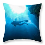 Diver At Pakin Atoll Throw Pillow