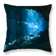 Diver Enters The Cavern System N Throw Pillow